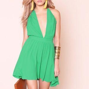 Dresses & Skirts - Green Plunge Neck Dress